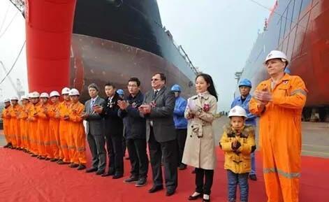 扬子江船厂首制29800吨大湖型自卸船命名下水